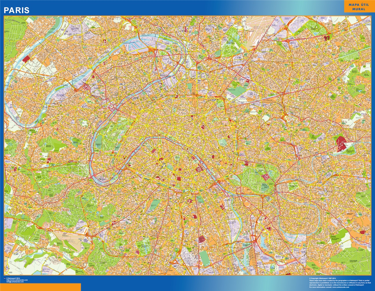 World Wall Maps Store: paris street map . More than 10 000 maps ...