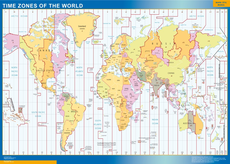 Our time zones world map wall maps mapmakers offers poster time zones of the world map gumiabroncs Images