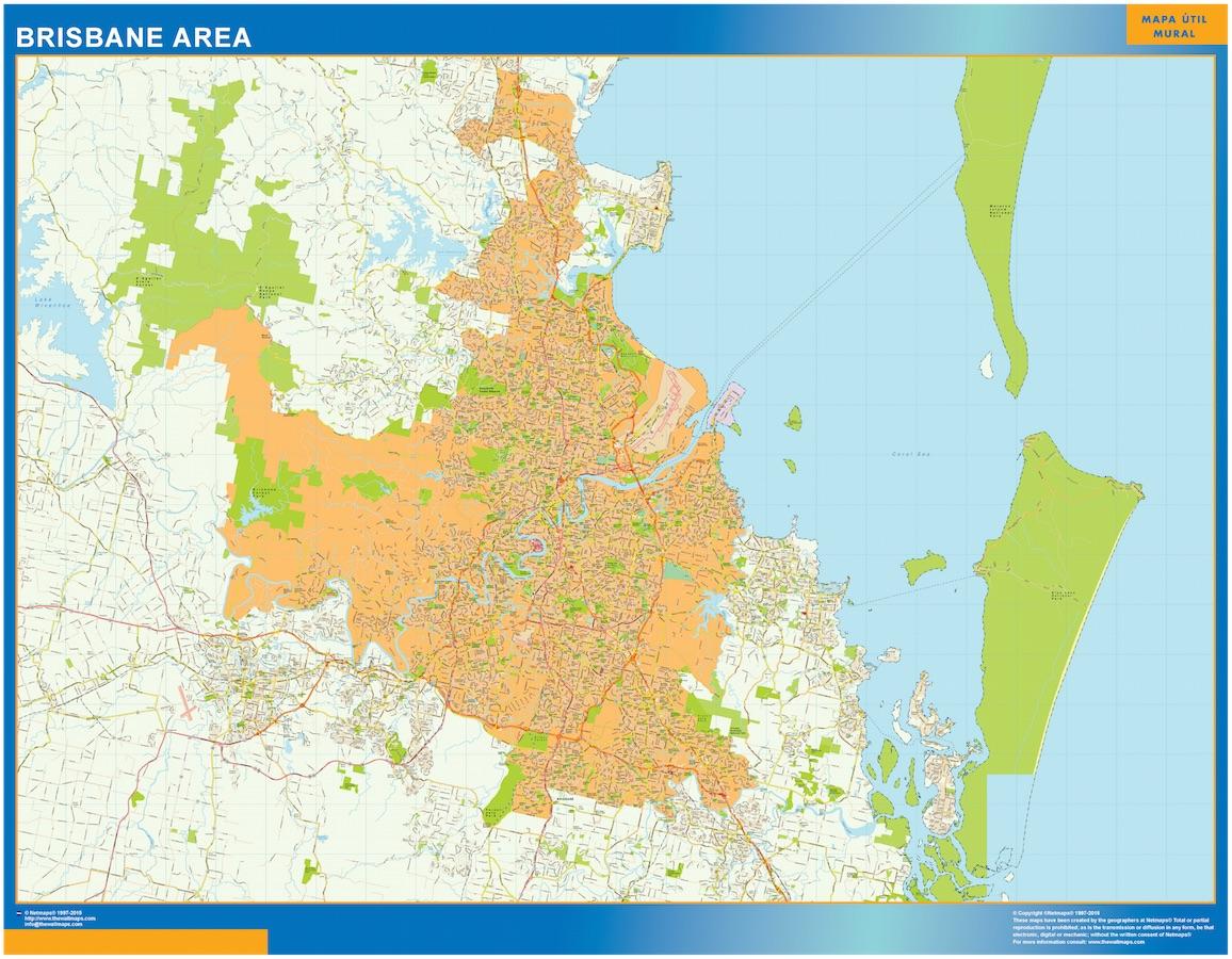 Brisbane Area wall map