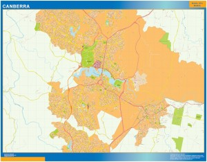 Canberra wall map