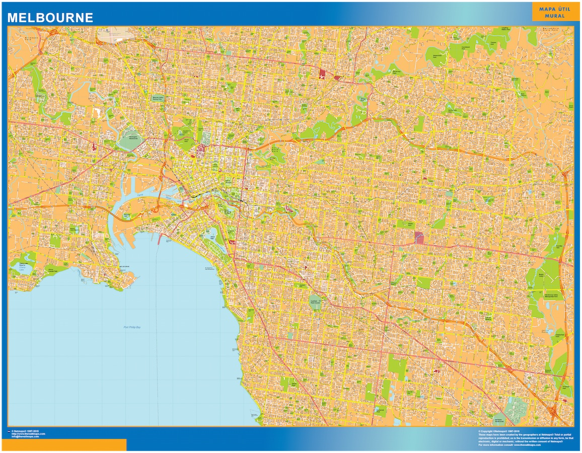Our melbourne map wall maps mapmakers offers poster laminated or melbourne map gumiabroncs Gallery