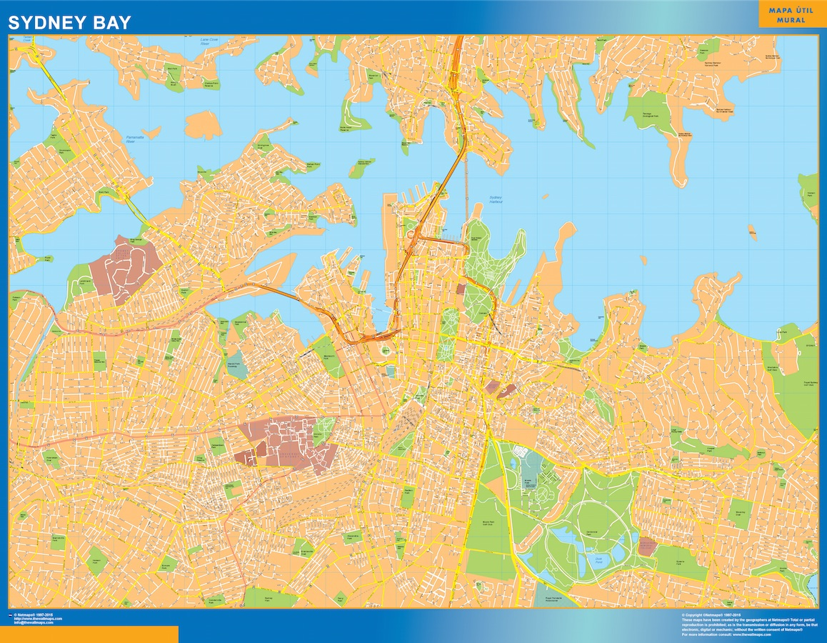 Our sydney bay map wall maps mapmakers offers poster laminated or sydney bay map gumiabroncs Choice Image