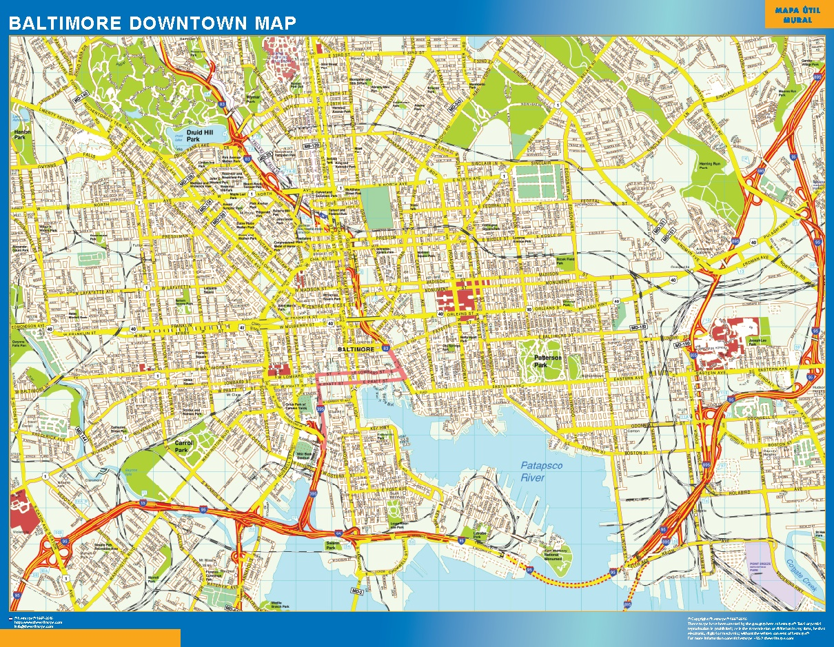 World Wall Maps Store Baltimore Downtown map More than 10 000