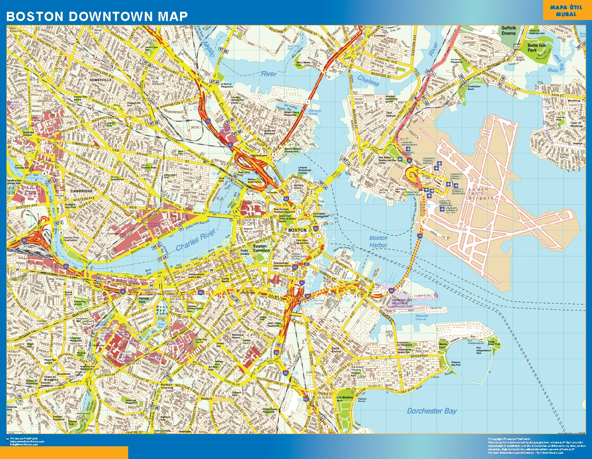 World Wall Maps Store Boston Downtown map More than 10 000 maps