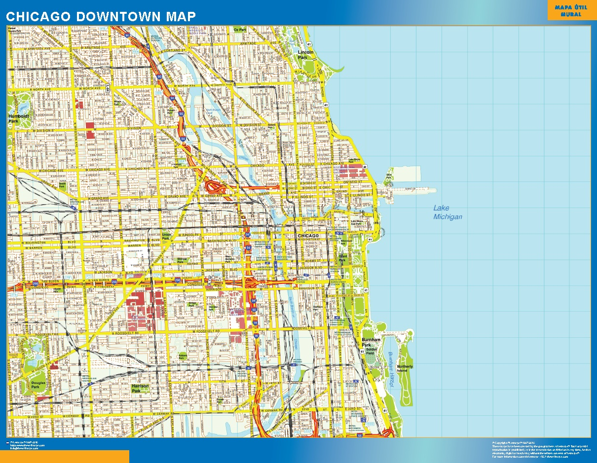 World Wall Maps Store Chicago Downtown map More than 10 000 maps