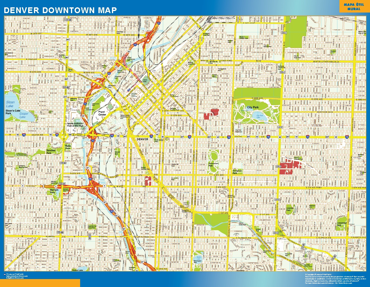 Denver World Map.Denver Downtown Map Wall Maps Of The World