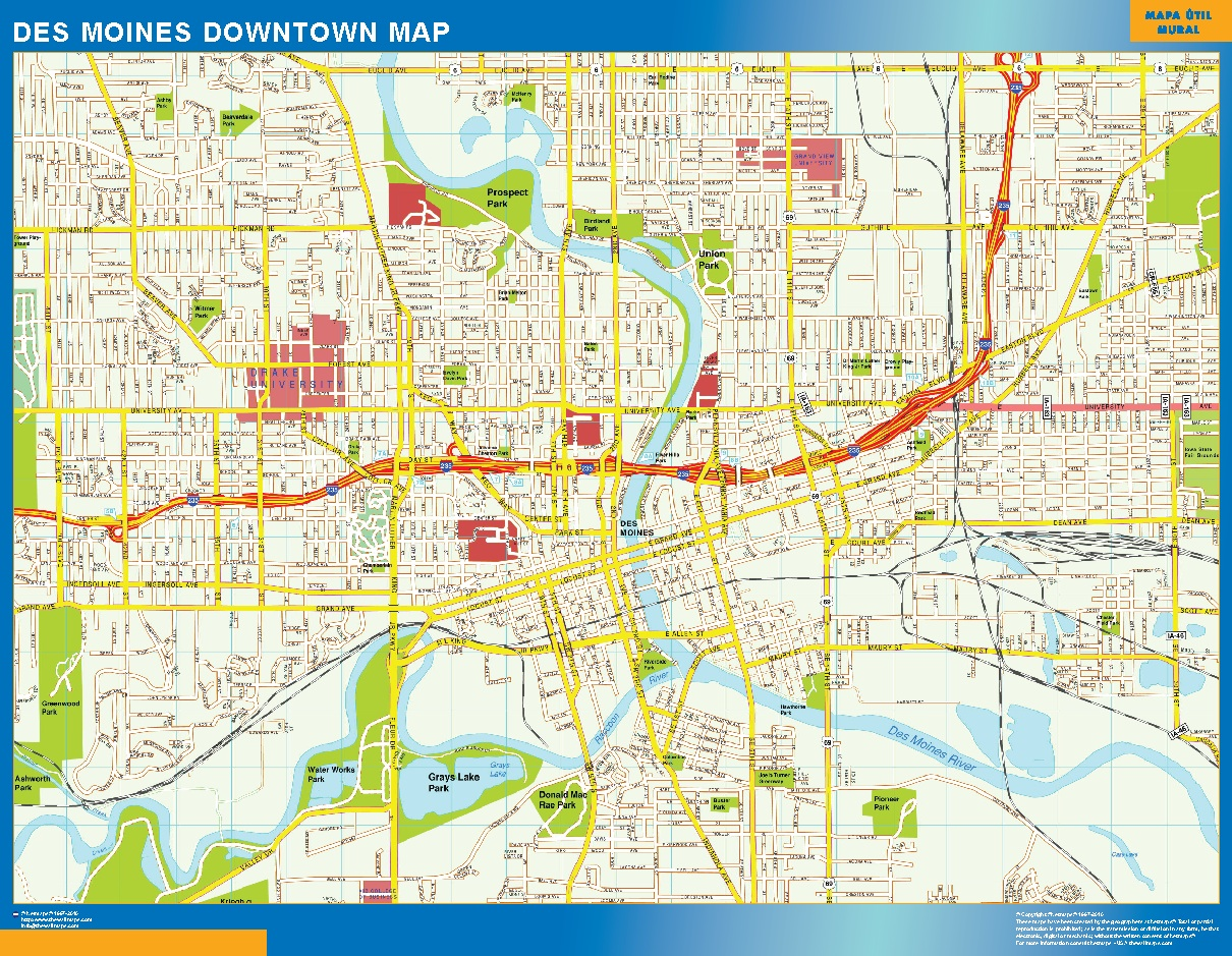 World wall maps store des moines downtown map more than 10 000 plus logo des moines downtown map we added your logo and website in our wall map after your order we send you via email 2 3 samples to take your final gumiabroncs Choice Image
