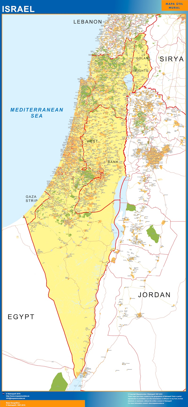 World wall maps store israel map more than 10 000 maps online israel map gumiabroncs Choice Image