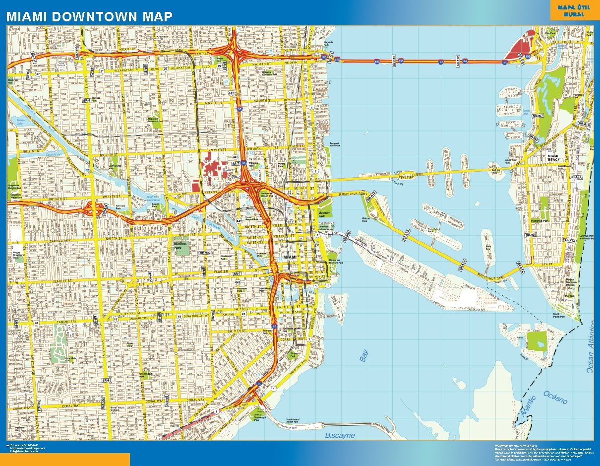 World Wall Maps Store Miami Downtown map More than 10 000 maps