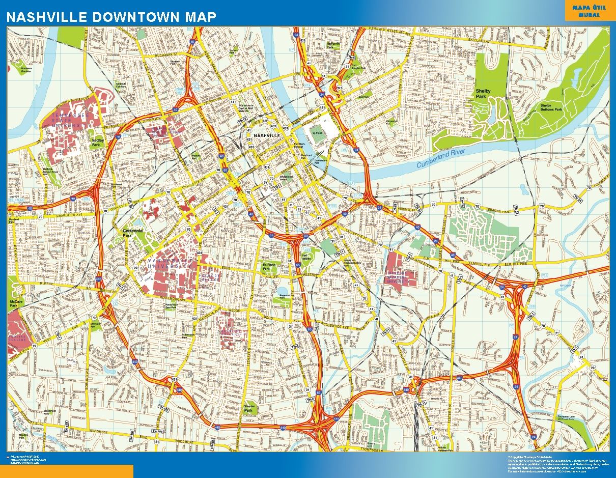 Look our special Nashville Downtown map | World Wall Maps Store Downtown Nashville Hotel Map on