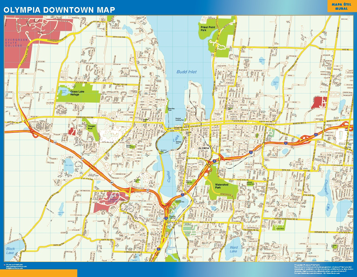 World Wall Maps Store Olympia Downtown map More than 10 000 maps online