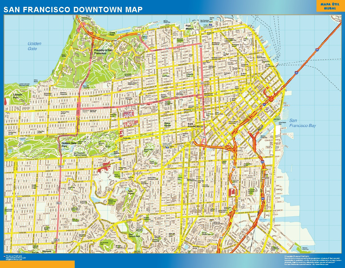 world wall maps store san francisco downtown map more. Black Bedroom Furniture Sets. Home Design Ideas