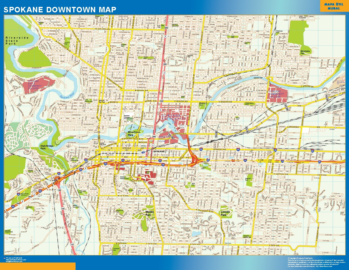 World Wall Maps Store Spokane Downtown map More than 10 000 maps