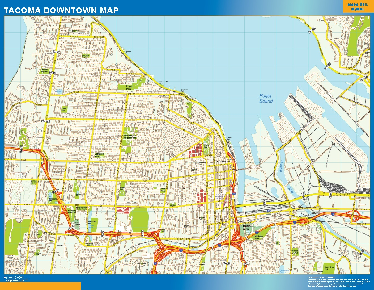World Wall Maps Store Tacoma Downtown map More than 10 000 maps