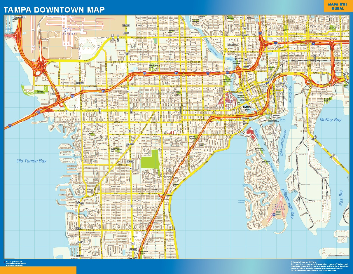 World Wall Maps Store Tampa Downtown map More than 10 000 maps