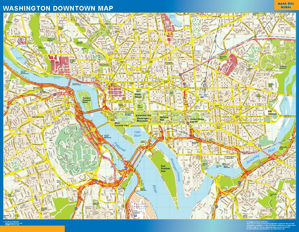 World Wall Maps Store Washington Downtown Map More Than - Magnetic us wall map