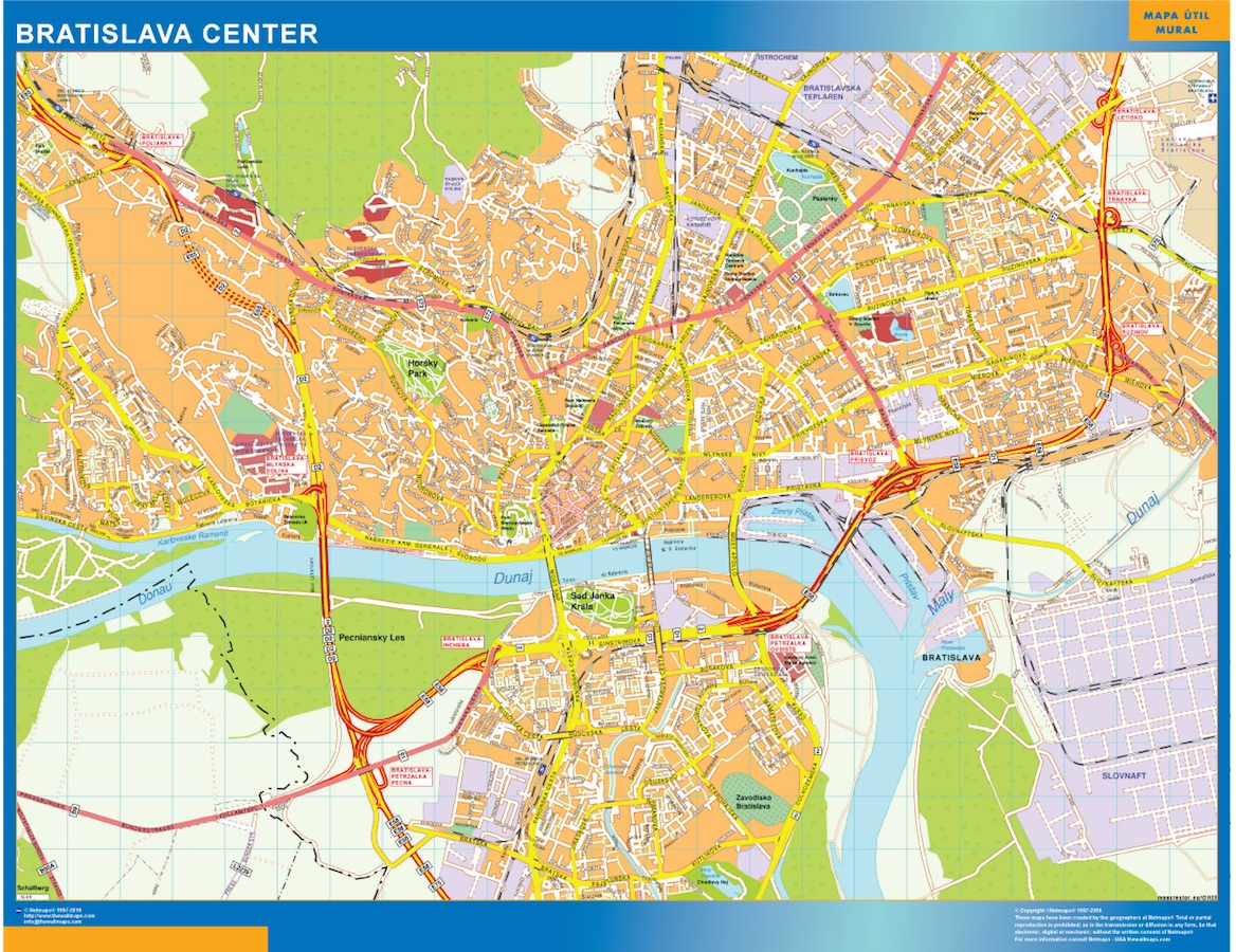 World Wall Maps Store Bratislava Downtown Map More than 10 000