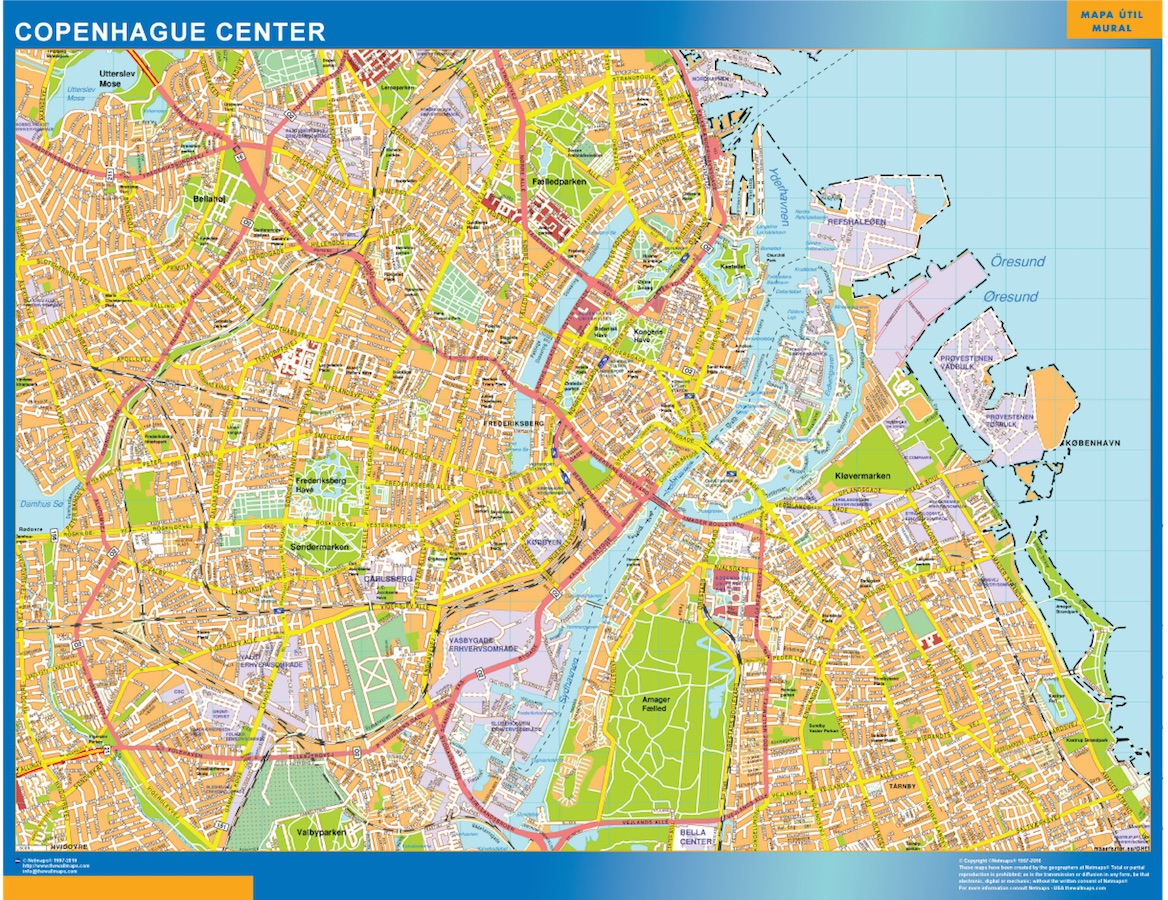 Look Our Special Copenhague Downtown Map World Wall Maps Store