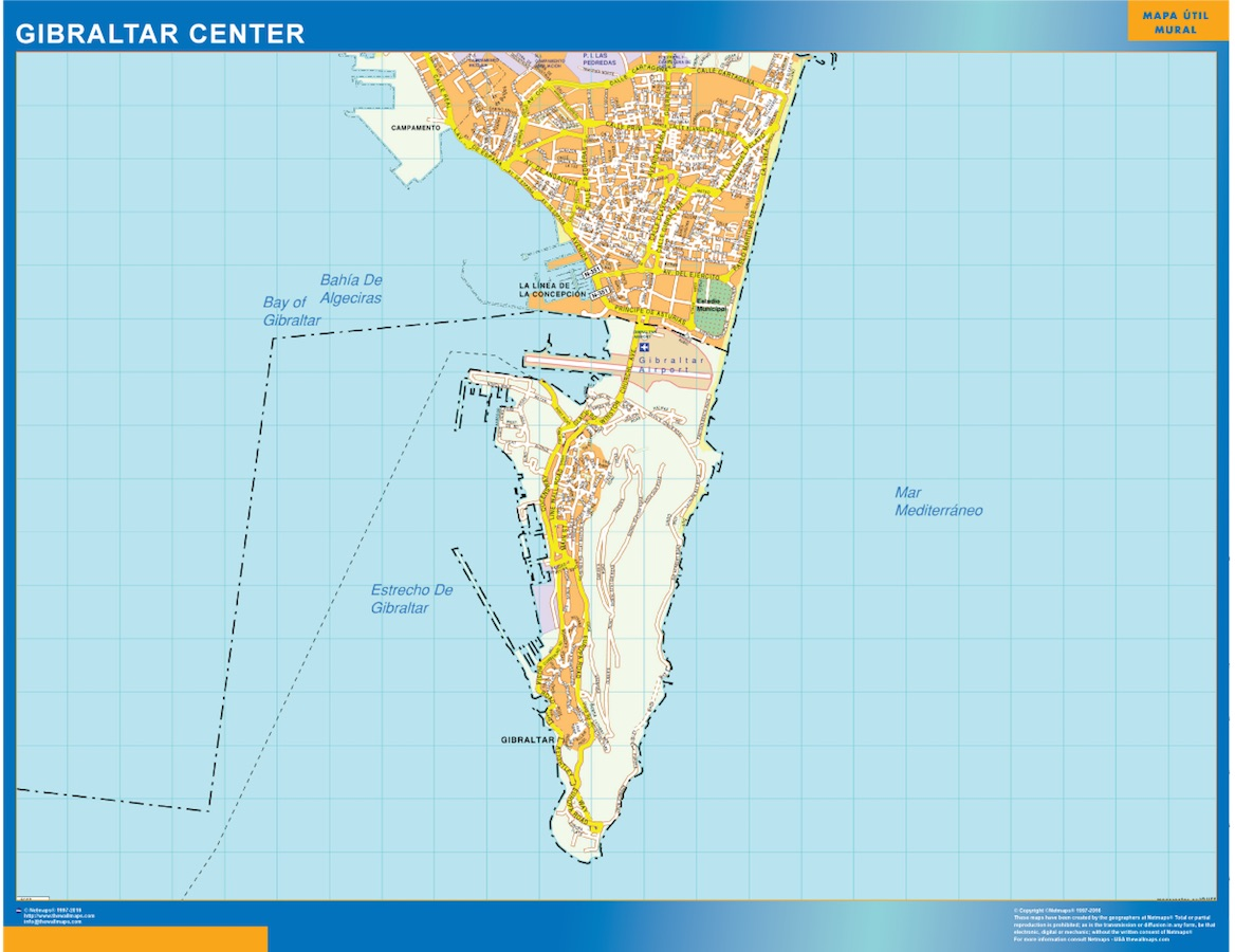 World Wall Maps Store Gibraltar Downtown Map More than 10 000