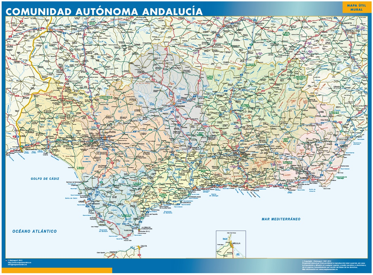 Look Our Special Map Of Andalucia World Wall Maps Store
