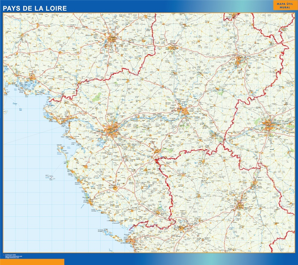 World Wall Maps Store Pays De La Loire Map More than 10 000