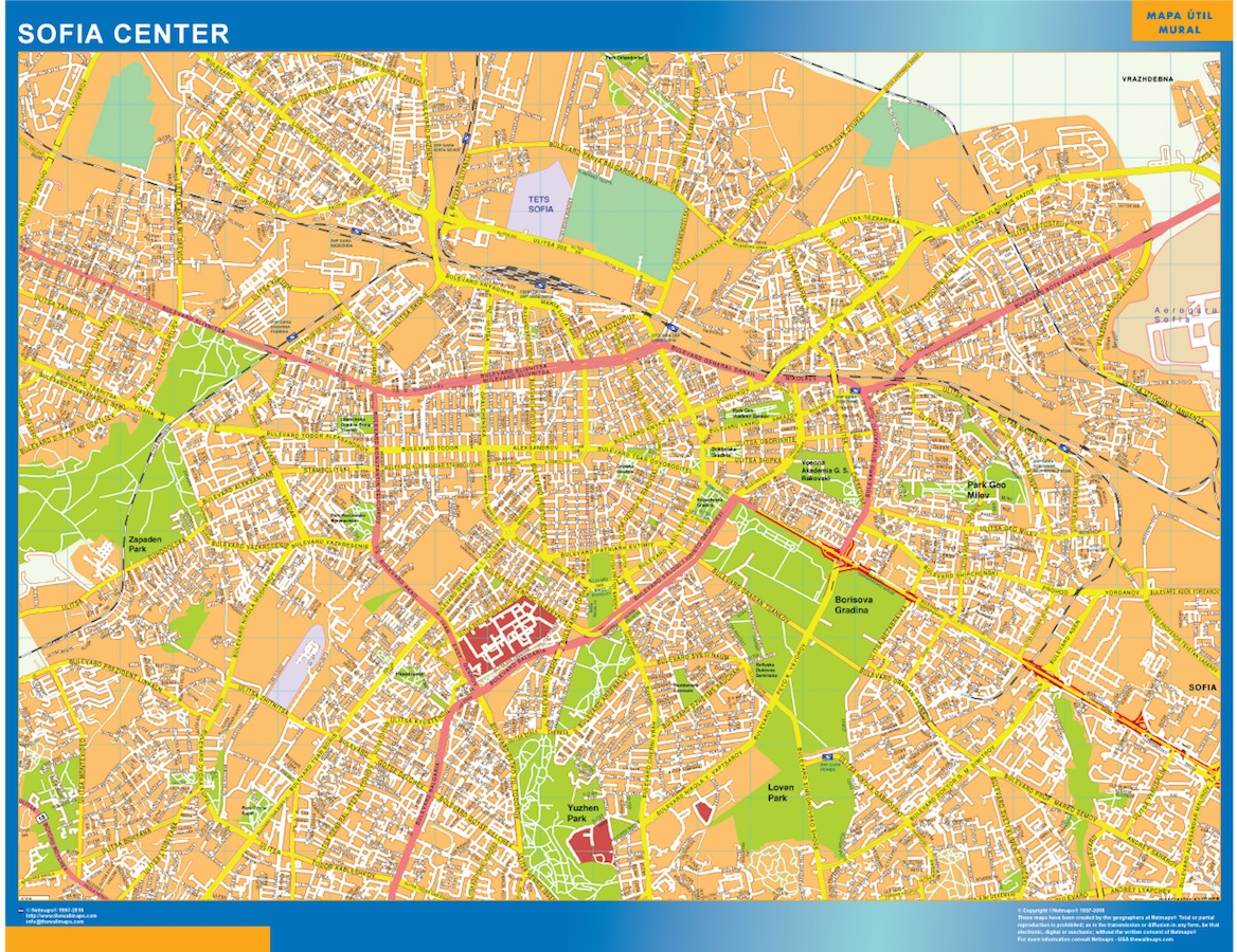 World Wall Maps Store Sofia Downtown Map More than 10 000 maps