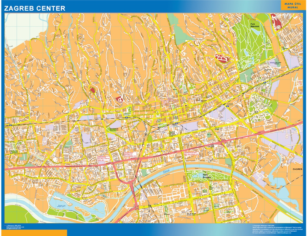 Look Our Special Zagreb Downtown Map World Wall Maps Store