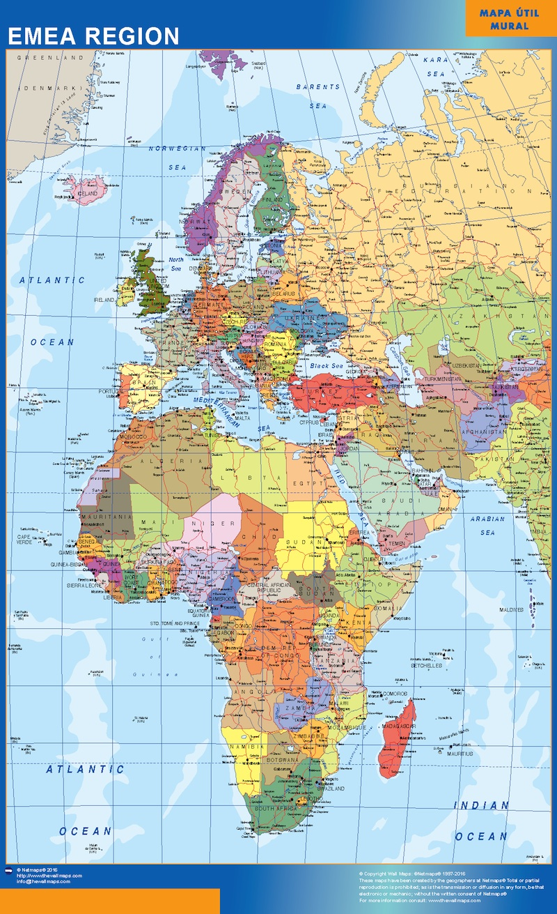 Our emea region map wall maps mapmakers offers poster laminated emea map gumiabroncs Choice Image