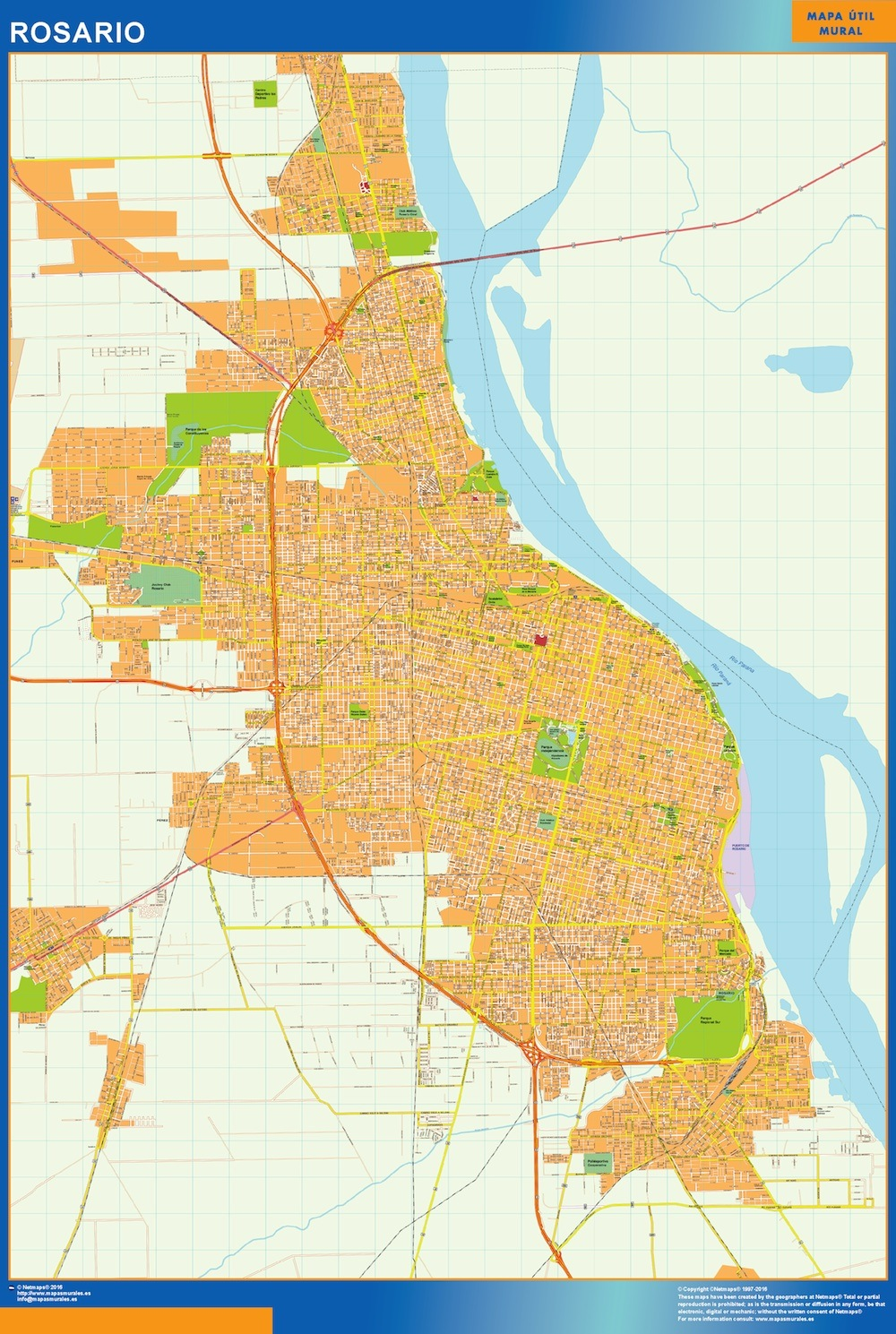 World Wall Maps Store Citymap Rosario Argentina maps More than 10