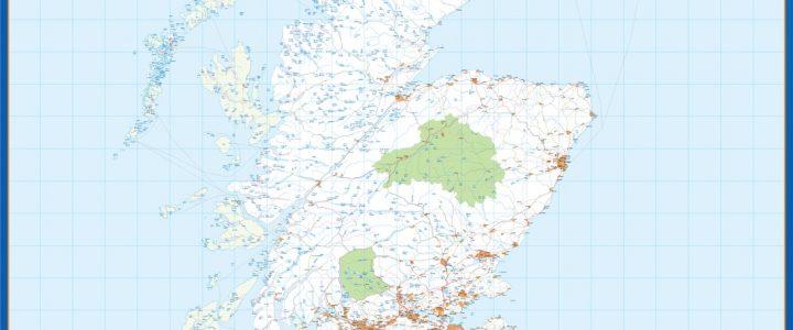 United Kingdom wall map North