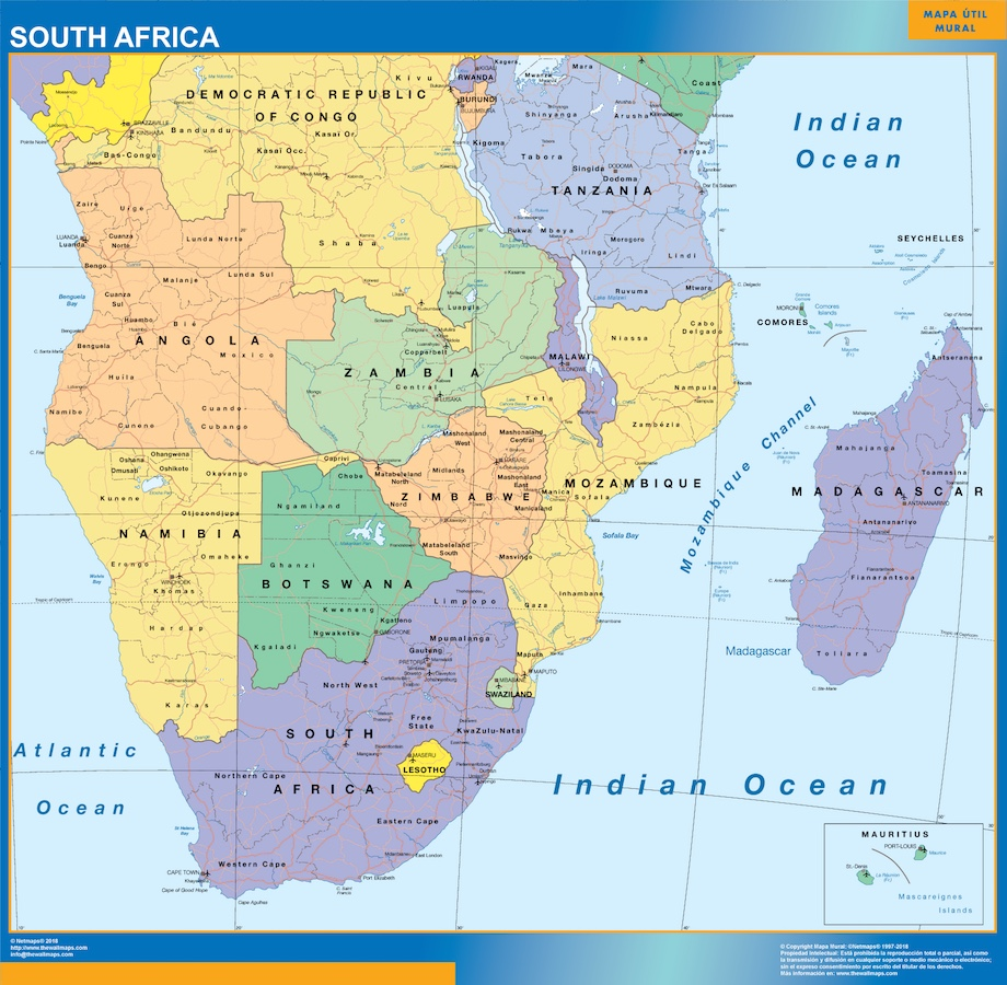 World wall maps store south africa map more than 10 000 maps south africa mapg gumiabroncs Images